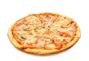 Pizza with salami, tomatoes and chicken isolated