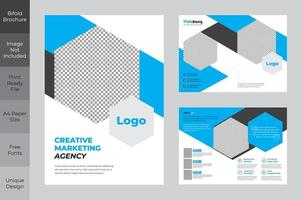 Corporate Business Bi-fold Brochure Design with Hexagon Frames