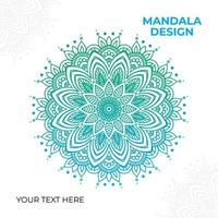 Gradient Blue Green Ornate Mandala Design  vector