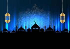 Ramadan Kareem Background with Mosque Silhouette and Lanterns