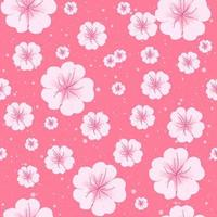 Sakura spring flowers in bloom seamless pattern.