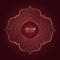 Dark Red and Gold Ramandan Decorative Greeting vector