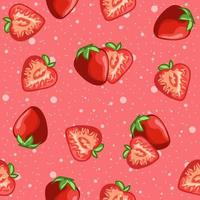 Pink red seamless pattern of strawberries and fruit slices.
