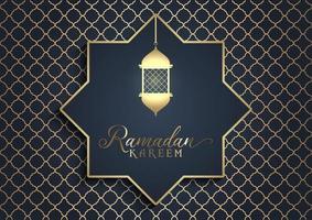 saludo ramadán kareem dorado y negro vector
