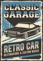 cartel retro de garaje clásico vector