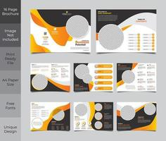16 Page Brochure Template Design In Orange and  vector