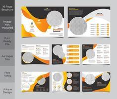 Design de modelo de folheto de 16 páginas em laranja e