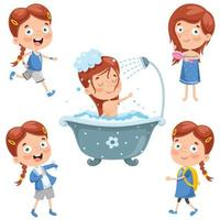 Young Girl Doing Daily Routine Elements vector