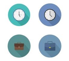 Set Of Clock and Briefcase Business Icon vector