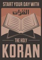 cartel retro musulmán del Corán del Islam vector