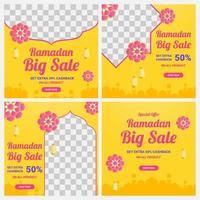 Bright Yellow Ramadan Sale Square Set  vector