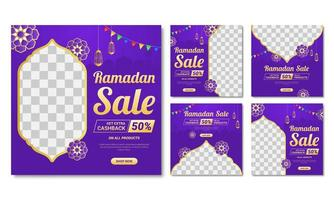 Ramadan Purple Decorative  Square Set  vector
