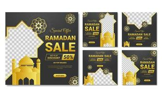 Gold and Black Ramadan Square Banner Template Set vector
