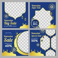 Blue and Gold Square Ramadan Sale Banner Set  vector