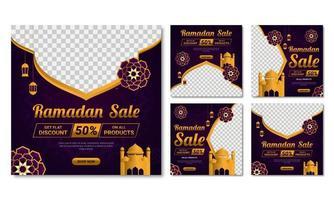 Ramadan Sale Square Banner Set of Five  vector