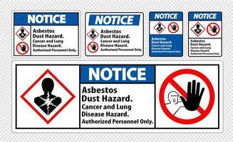 etiqueta de aviso etiquetas de peligro de polvo de asbesto vector