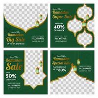 conjunto de bandeiras de mídia social de venda do ramadã vetor