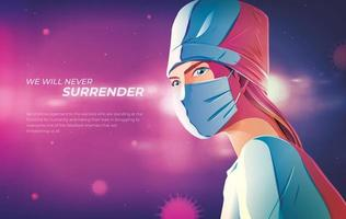 Doctor Illustration with We Will Never Surrender Text