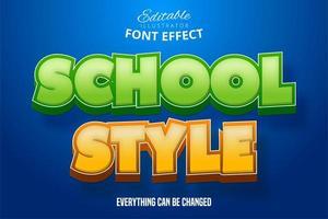 efecto de texto de estilo escolar vector
