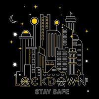 Lockdown City in Mono Line Style vector