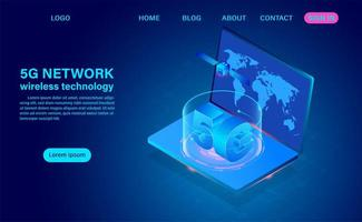 5G Network Technology on Laptop vector
