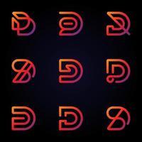 conjunto de logotipo gradiente letra d vetor