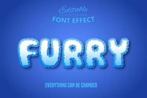 Furry White Text Effect vector