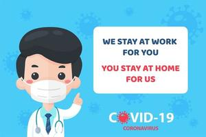 Doctor recommendeding people stay home vector
