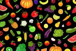 Fruits and vegetables pattern on black