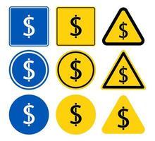 insieme del segno del dollaro