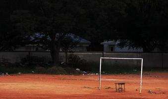 dilapidated soccer field