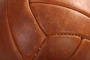 balón fútbol soccer cuero marrón vintage foto