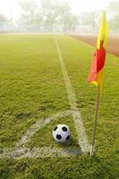 Corner flag with ball on a soccer field photo