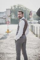 handsome big moustache hipster man photo