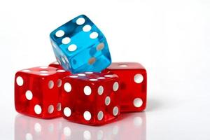 Stack of red and blue dice photo