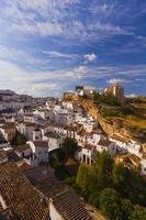 White houses in Setenil de las Bodegas small town, Spain photo
