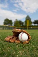 Baseball and Glove in the Outfield photo