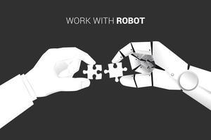 Geschäftsmann und Roboterhand passen Puzzleteile