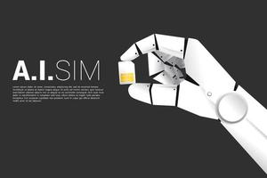 Robot hand holding sim card vector