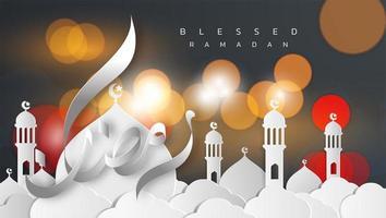 tarjeta de felicitación de estilo de papel ramadan kareem