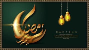 Green Ramadan Kareem with Two Hanging Lanterns Banner