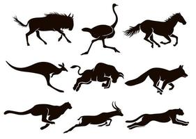 Collection of running animal silhouettes vector