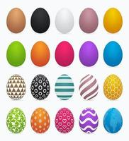 Colorful solid and patterned Easter egg set vector