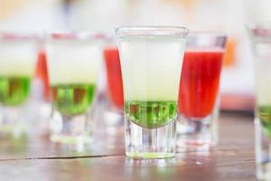 Raw of shot drinks