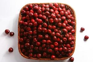 rojo cereza con gotas foto