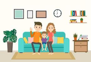 Cartoon Happy Family on Sofa at Home