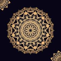 Golden Mandala on Black with Two Corner Design