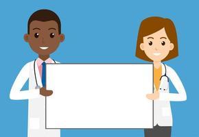 weibliche und männliche Ärzte, die leeres Zeichen auf Blau halten