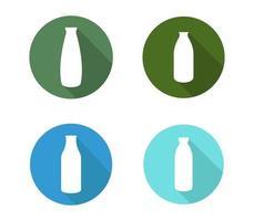 conjunto de ícones de garrafa de leite vetor