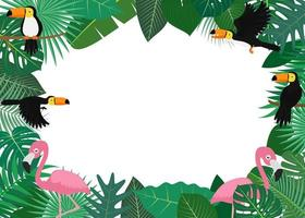 Tropical Leaves Frame with Toucans and Flamingos  vector